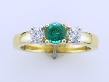Emerald & Diamond Trinity Ring