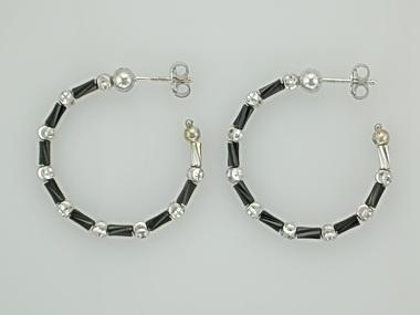 Small Black & White Tube Earrings