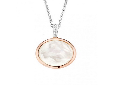 Rose Circle Stone Pendant and Chain