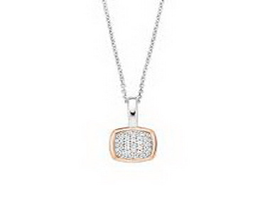 Silver and Cubic Rose Square Pendant