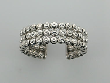 3 Line White Faceted Bead Ring