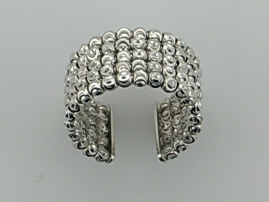 5 Line White Faceted Bead Ring