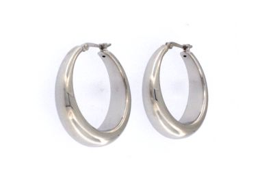 Silver Tapered Hoops
