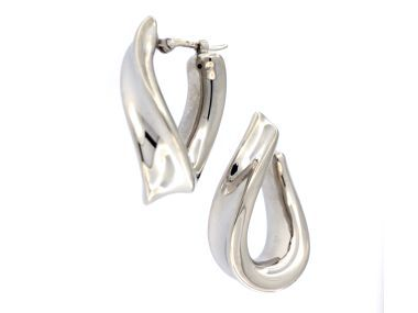 Fancy silver hoop earrings