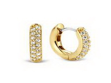 Gold Plated with Cubic Hoop Earring