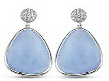 Large Blue Crystal and Cubic Earrings