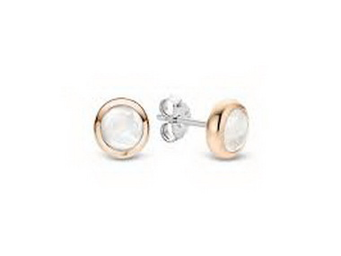 Rose and White Crystal Stud Earring