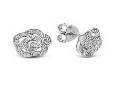 Flower Style Silver Stud Earring