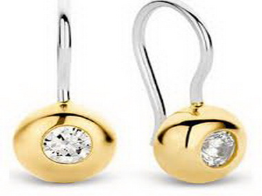 Cubic and Gold Plated Hook Earrings