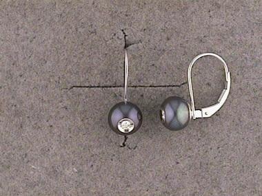 Black Pearl Dia In A Pearl Earrin