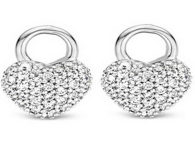 Silver and Cubic Heart Earrings