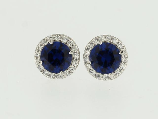 Blue Stone Halo Earrings