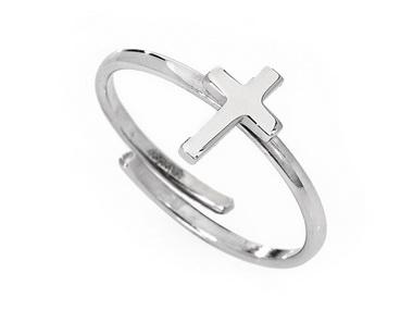 Silver Adjustable Cross Ring