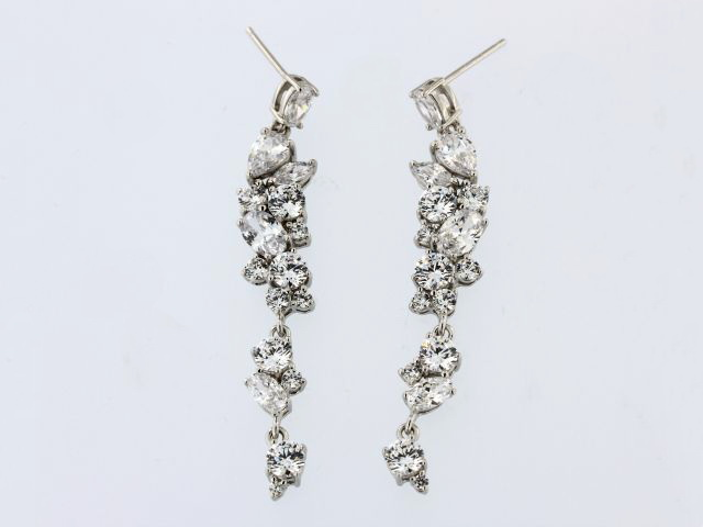 Silver Cubic Dangle Earrings