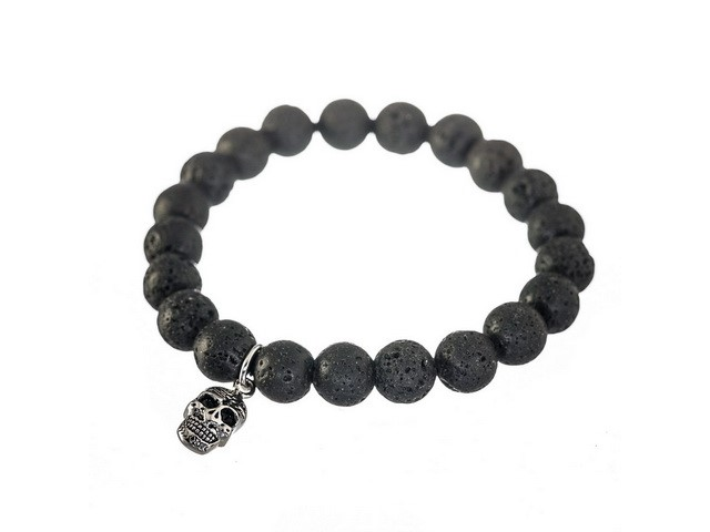 Lava Bead Bracelet with Skull