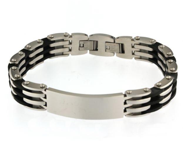 Steel and Rubber Link Bracelet