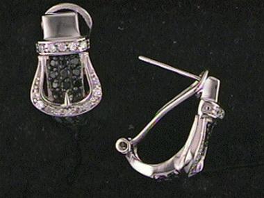 Blk Wht Buckle Earrings