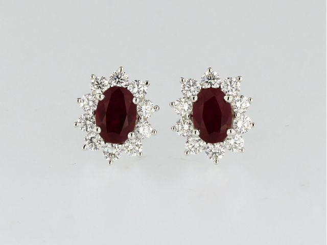 Oval Ruby & Diamond Earrings