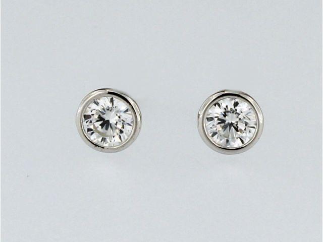 Bezel Set Cubic Stud Earrings