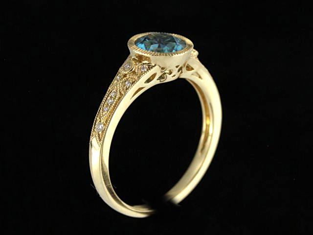 Yellow Gold Blue Zircon Ring