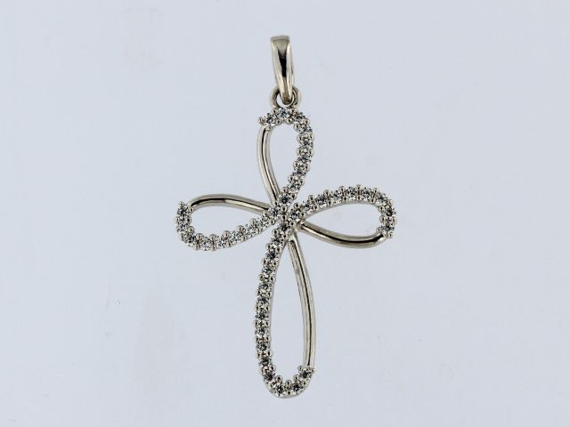 18KT Cross with Cubics
