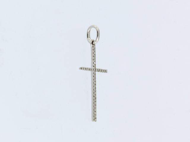 18KW Diamond Cross Pendant