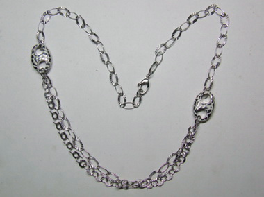 Silver Necklace With White Enamel