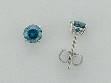 14KW Blue Diamond Studs