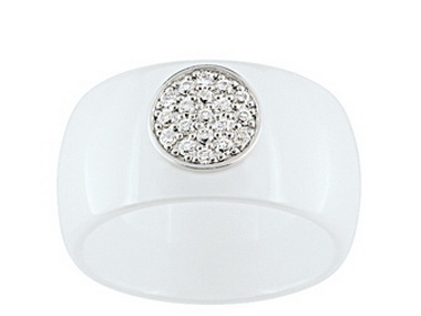 White Ceramic & Silver Ring