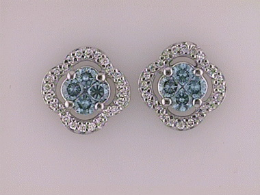 1.17ctw Blue & White Dia.Earring