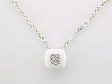 White Ceramic & Silver Necklace