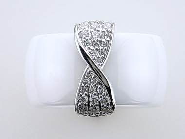 White Ceramic & Silver Ring