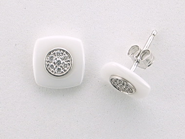 White Ceramic & Silver Earrings