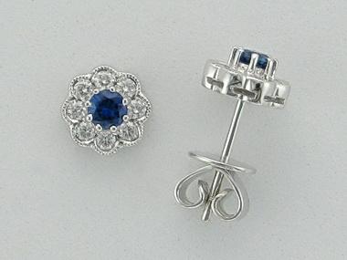18kt Sapphire Diamond Earrings
