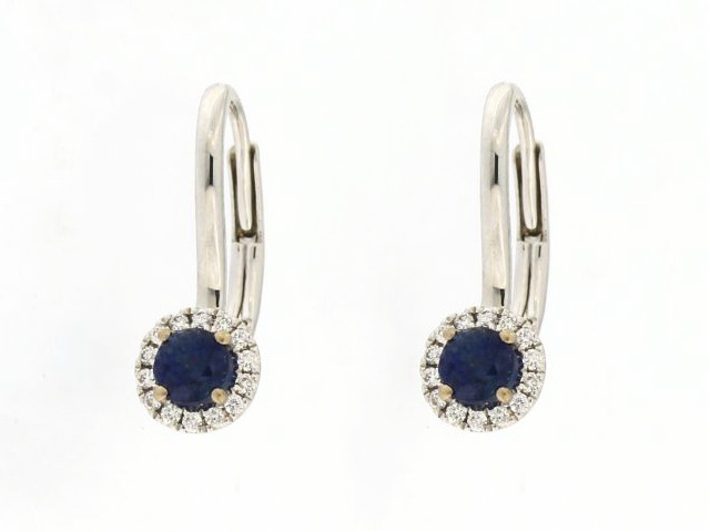 Sapphire & Diamond Lever Back Earrings