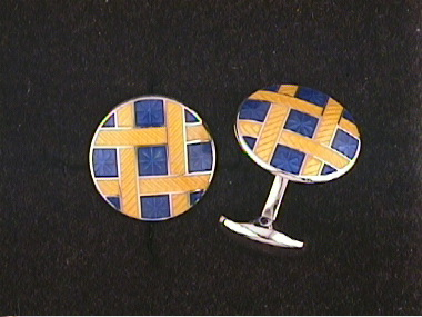 Yellow And Blue Cufflinks