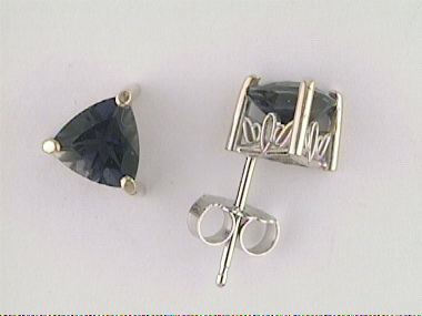 6mm Trillion Iolite Stud Earrings