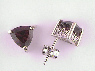 7mm Rhodolite Stud Earrings