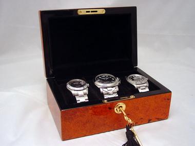 Small Burlwood Watch Box