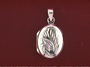 Silver Engraved Oval Locket