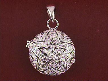 Silver Round Locket With C Z