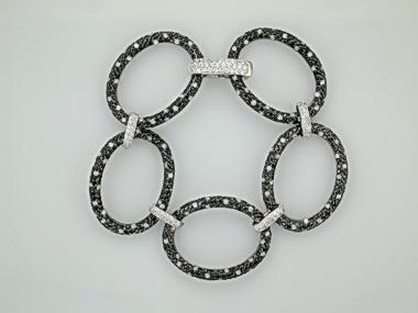 Silver Black White Cubic Bracelet