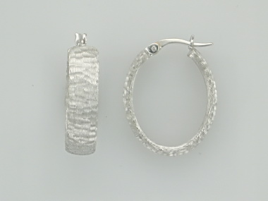 14KT oval textured hoop earrings