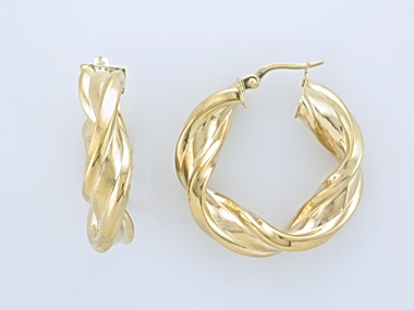 10KT Twisted Hoop Earrings