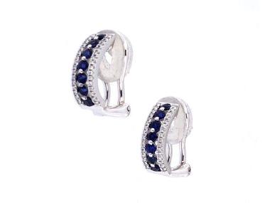 18KT Omega Back Sapphire Earrings