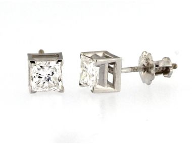 0.80 ctw Princess Diamond Studs