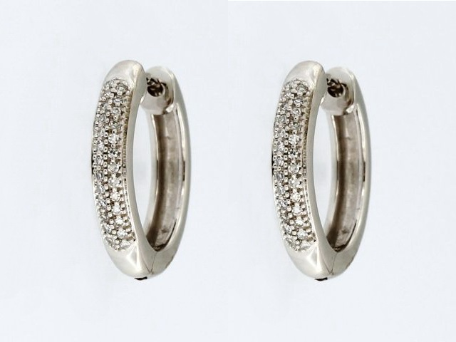 10KT Pavee Diamond Hoops