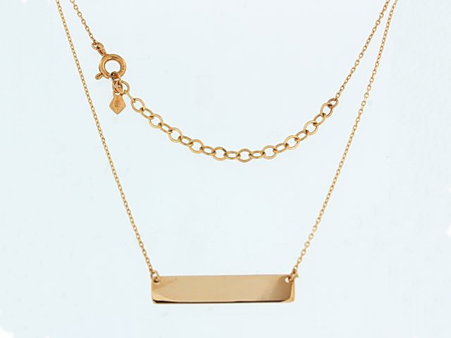 14KR Name Plate Necklace