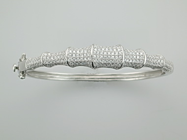 """Silver and Cubic """"Bamboo"""" bangle"""