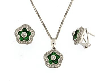 Green Garnet Earrings and Pendant
